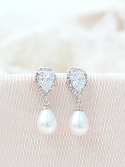 Diaz Pearl Bridal Earrings