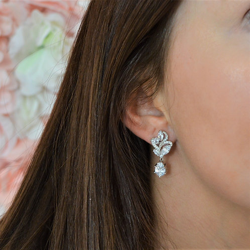 Aubrey Silver Bridal Earrings