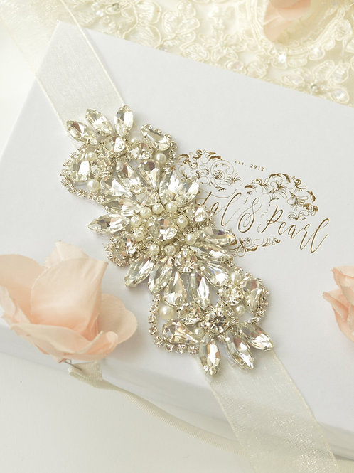 Adore Silver Bridal Sash