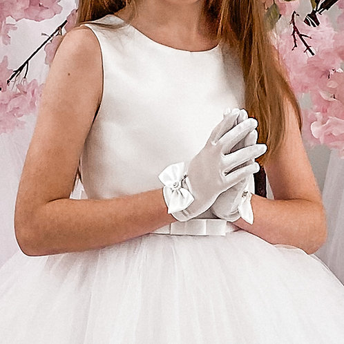 Bow Satin Cross Communion Gloves