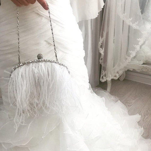 Giselle Feather Bridal Clutch Bag