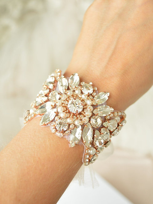 Adore Rose Gold Bridal Cuff