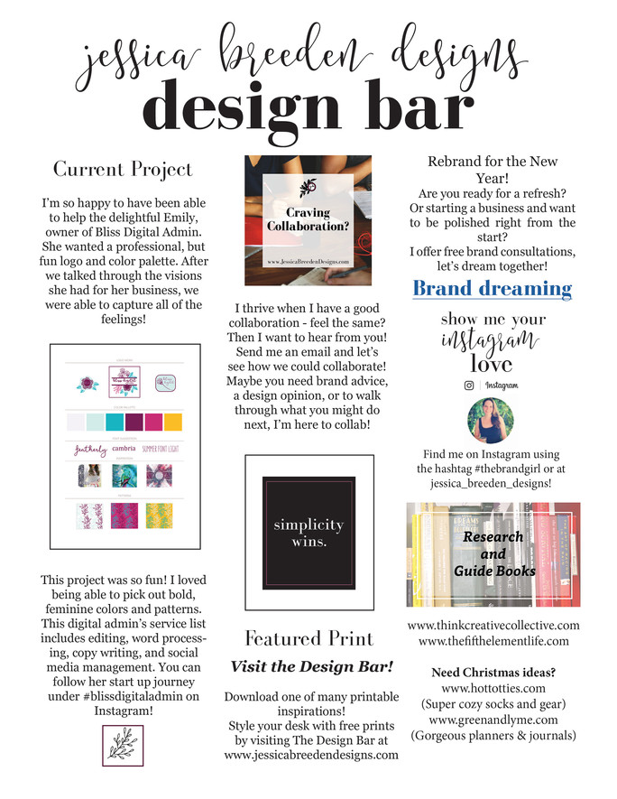 JBD Monthly Design Bar | jessica breeden designs