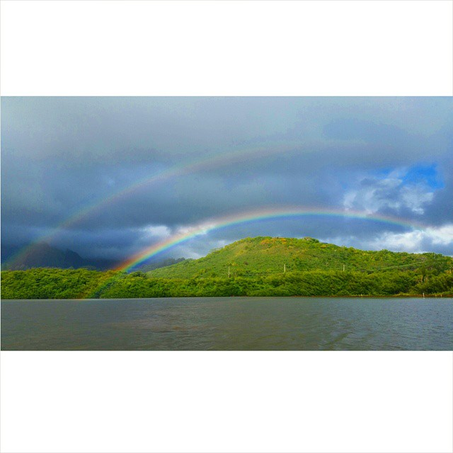 Gorgeous start to the week.jpg #paepaeoheeia #heeiafishpond #ānuenue #laieikawai.jpg #doublerainbowa
