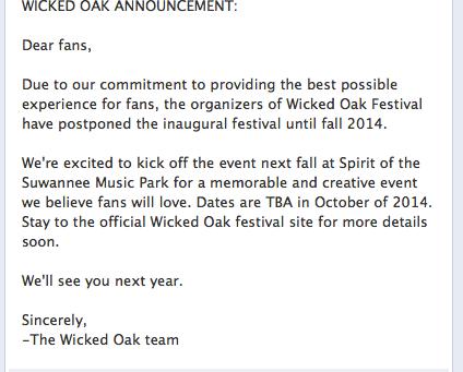 Wicked Oak, Suwannee's First EDM Festival, Postponed Until 2014
