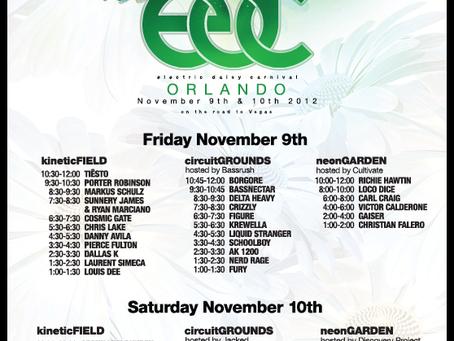 EDC Orlando 2012 Schedule Times