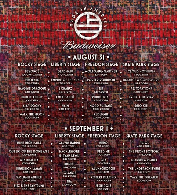 made in america 2013 schedule