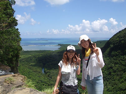 滝上からの絶景を背景に鳩間島が見えています。