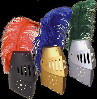 3 prunkvolle Helme mit Federn