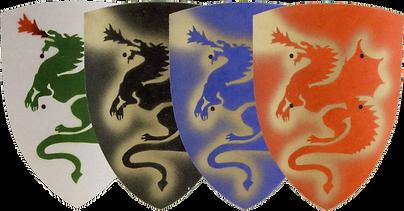 div. Schilde mit Drachenmotiv