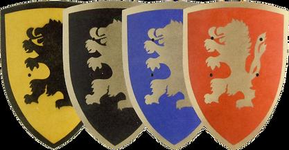 dieverse Schilde mit Löwenzeichnung