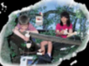 Kinder sitzen auf dem Baum und haben eine Seilbahn nach unten gebaut