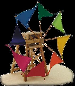 Windmühle mit bunten Flügeln