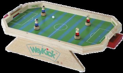 WeyKick ist ein schnelles Tischfussballspiel für 2 Personen. Die Spieler werden mittels Magnet unter der Platte bewegt.