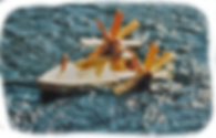 Schiff mit Wasserradantrieb