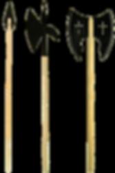 3 Spieße und Halebarden