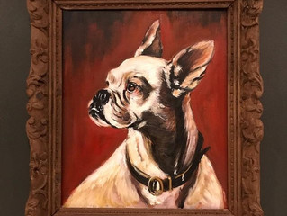 Painting of the month – Victorian style painting of a Boston Terrier