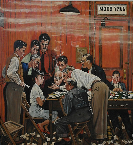 After Norman Rockwell 'The Jury Room'