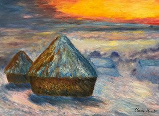 Painting of the Month: HaystacksAt Sunset, Snow Effect, After Claude Monet's 1890-1891