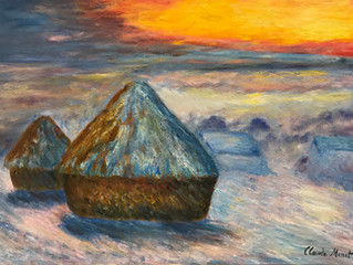 Painting of the Month: Haystacks At Sunset, Snow Effect, After Claude Monet's 1890-1891