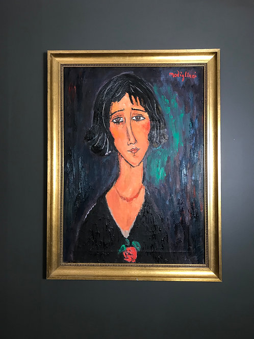 After Amedeo Modigliani Jeune femme a la rose (Margherita) 1916