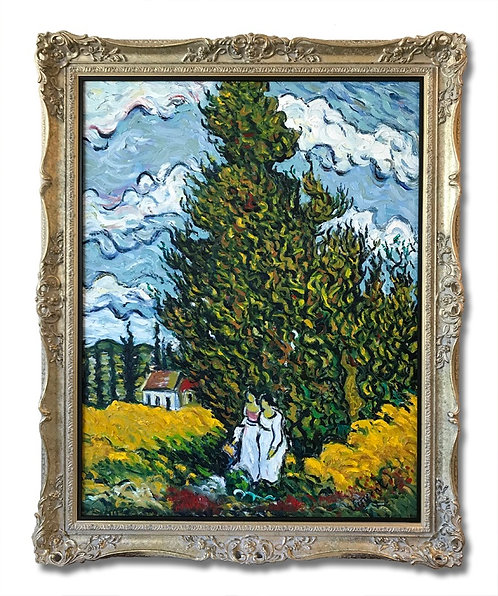 After Vincent van Gogh Cypresses and Two Women