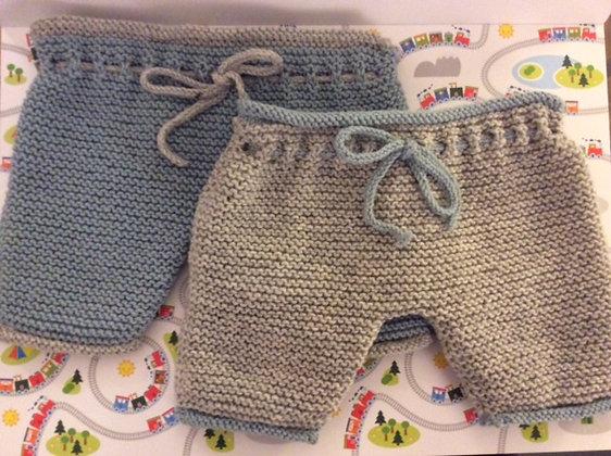 Pantalón largo con cordón tejido a mano