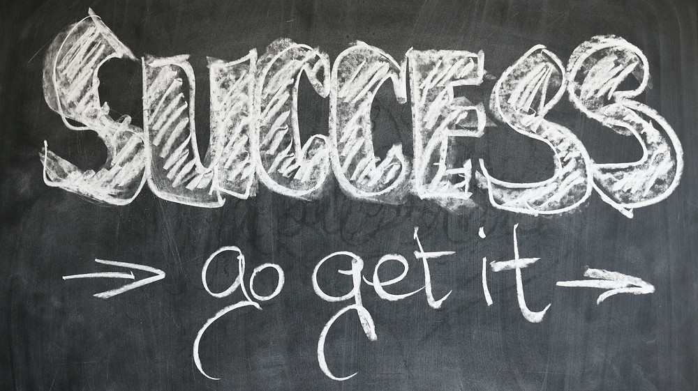 Business success motivational quote written in white chalk on black board