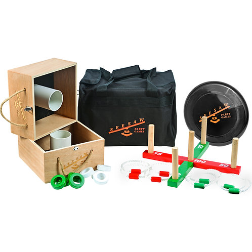 Premium Wooden Ring Toss and Washer Toss Game Set and Frisbee!