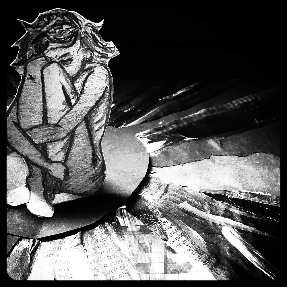 An illustration of a young girl, cowering in a dark room.