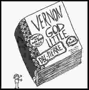 An ink illustration by Eli Allison of the novel Vernon God Little by DBC Pierre. Created for her Book Bio series. Fun little looks at much-loved stories.