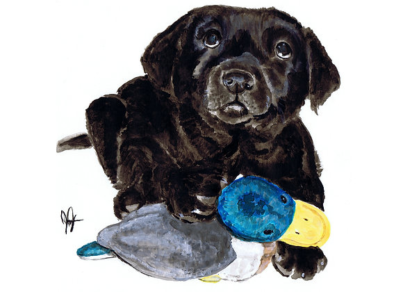 Pup with duck
