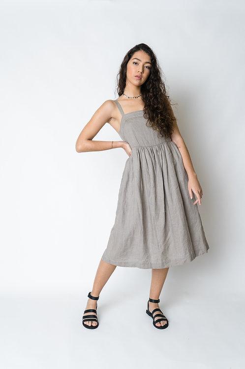 Vestido Amarílis Linho Cinza