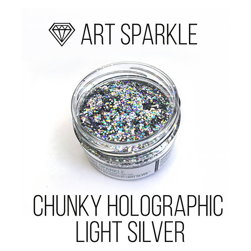 Глиттер крупный  Chunky Holographic light Silver, 50гр