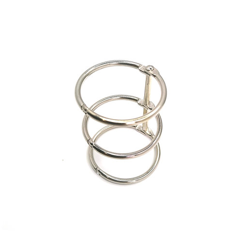 Triple rings for a notebook, 2 pcs. - silver