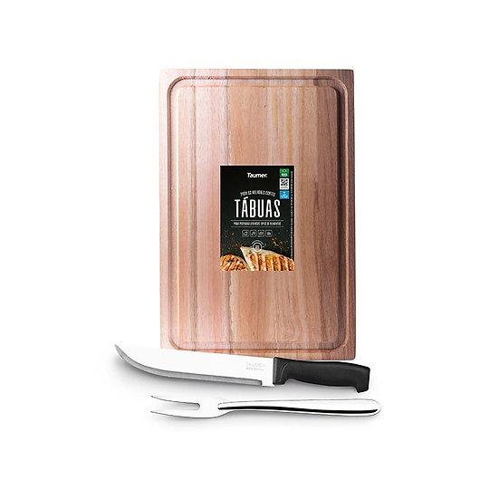 "Tábua de Mad. para Carnes e Legumes + Faca de Coz. 8"" + Garfo Trinchante - Wood"