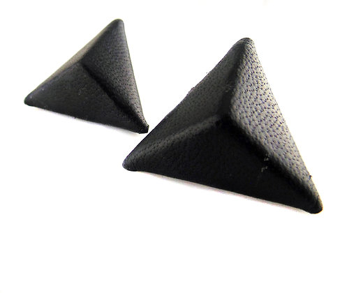 LEATHER TRIANGLE PYRAMID Earrings