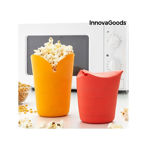 Collapsible Silicone Popcorn Poppers Popbox InnovaGoods (Pack of 2)