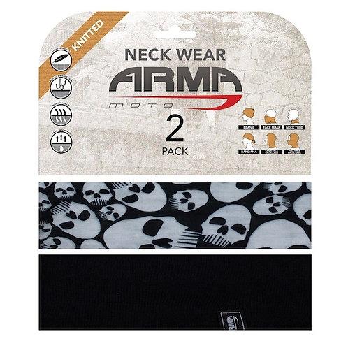 ARMR SUMMER FACE MASK NECK TUBE - 2 PACK BLACK + SKULL