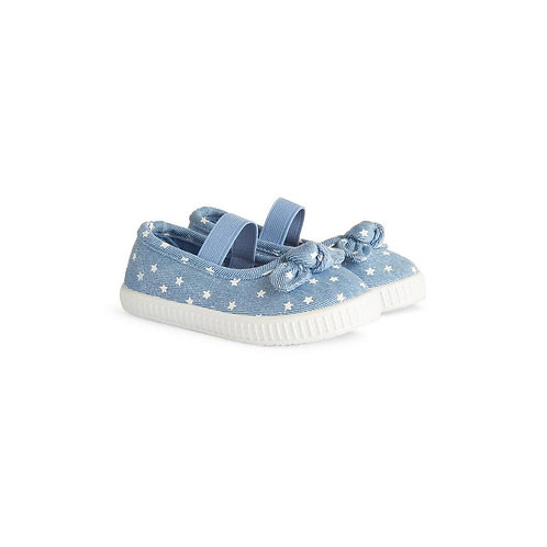 Younger Girl Denim Polka Dot Shoes