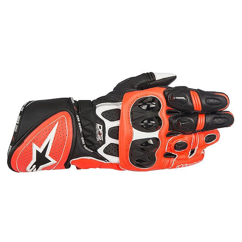 ALPINESTARS GP PLUS R LEATHER RACE GLOVES - RED FLUO
