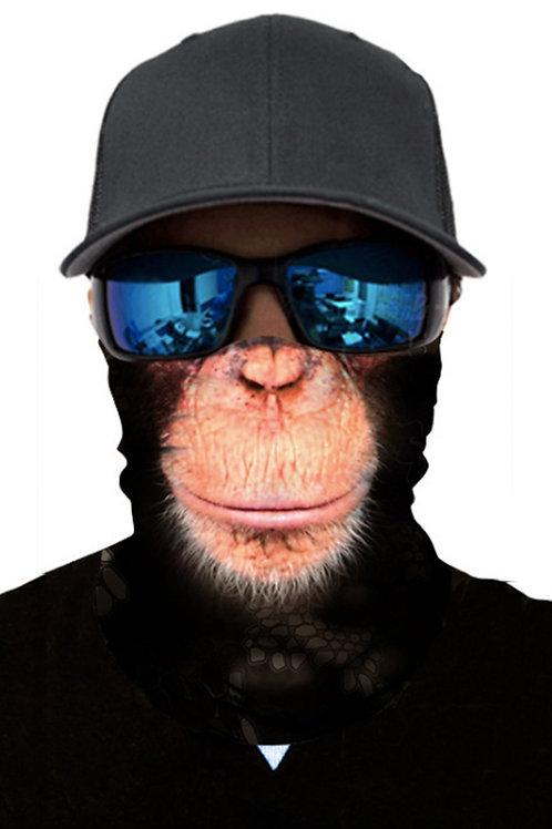 Maschera per scaldacollo con scaldacollo da motociclista con stampa babbuino