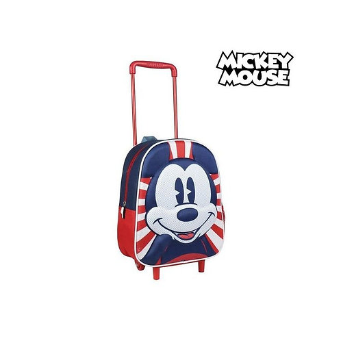 3D School Bag with Wheels Mickey Mouse Red
