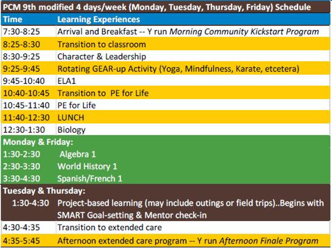 PCm 9th  modified 4 day week schedule