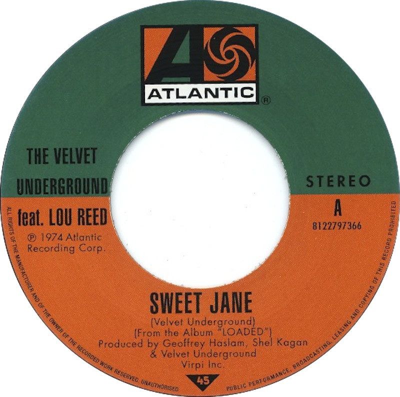 Velvet Underground - Sweet Jane 45rpm label