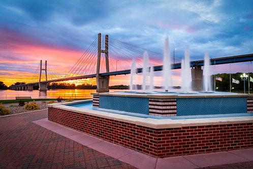 11x14 Matted Print- Bayview Bridge /Fountain