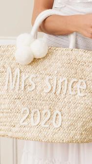 Bridal raffia tote