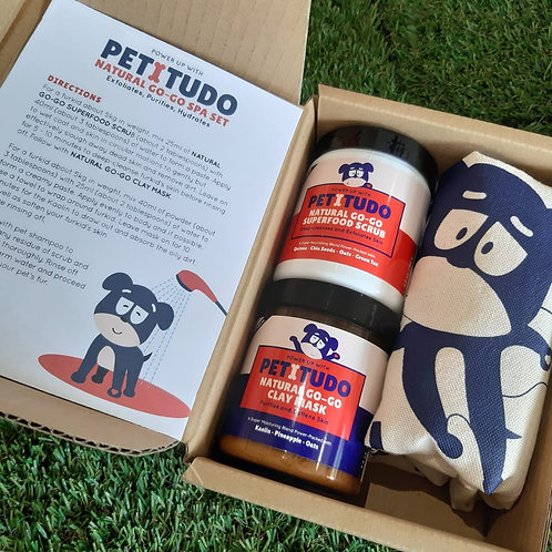 NATURAL GO-GO PET SPA Kit - Superfood Scrub (90G) +  Clay Mask (90G)