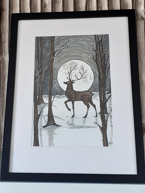Stag by Winter moonlight