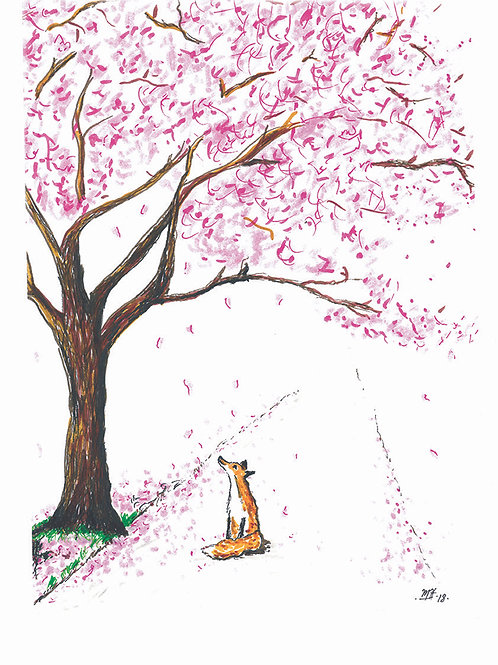 Fox Under Blossom Tree